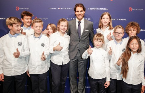 STUTTGART, GERMANY - NOVEMBER 10: Rafael Nadal with kids attends the Tommy Hilfiger X Rafael Nadal @ Breuninger on November 10, 2015 in Stuttgart, Germany. (Photo by Franziska Krug/Getty Images for Tommy Hilfiger)