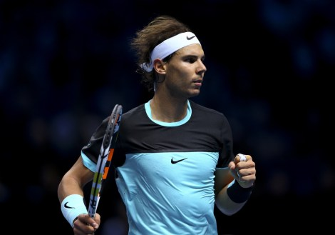 Rafael Nadal of Spain celebrates a point in his men's singles match against Andy Murray of Great Britain during day four of the Barclays ATP World Tour Finals at the O2 Arena on November 18, 2015 in London, England. (Nov. 17, 2015 - Source: Clive Brunskill/Getty Images Europe)