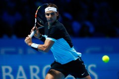Rafael Nadal of Spain hits a backhand during the men's singles semi final against Novak Djokovic of Serbia on day seven of the Barclays ATP World Tour Finals at the O2 Arena on November 21, 2015 in London, England. (Nov. 20, 2015 - Source: Julian Finney/Getty Images Europe)