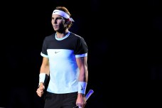 BASEL, SWITZERLAND - NOVEMBER 01: Rafael Nadal of Spain looks on during the final match of the Swiss Indoors ATP 500 tennis tournament against Roger Federer of Switzerland at St Jakobshalle on November 1, 2015 in Basel, Switzerland (Photo by Harold Cunningham/Getty Images)