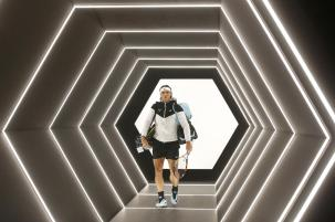 Rafael Nadal of Spain arrives to play his quarterfinal match with Switzerland's Stan Wawrinka during the BNP Masters tennis tournament, at Bercy Arena, in Paris, France, Friday, Nov. 6, 2015. (AP Photo/Francois Mori)