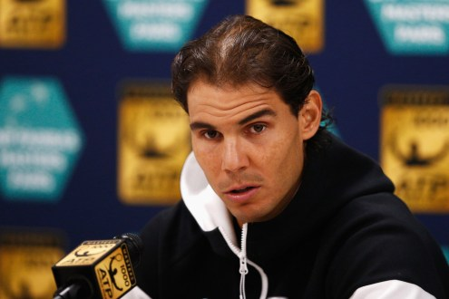 Rafael Nadal of Spain speaks to the media during Day 2 of the BNP Paribas Masters held at AccorHotels Arena on November 3, 2015 in Paris, France. (Nov. 2, 2015 - Source: Dean Mouhtaropoulos/Getty Images Europe)