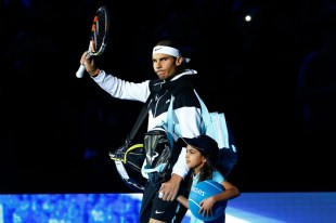 Rafael Nadal of Spain walks out onto court prior to the men's singles semi final against Novak Djokovic of Serbia on day seven of the Barclays ATP World Tour Finals at the O2 Arena on November 21, 2015 in London, England. (Nov. 20, 2015 - Source: Julian Finney/Getty Images Europe)