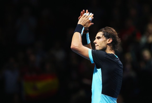 Rafael Nadal of Spain celebrates victory after his men's singles match against Stanislas Wawrinka of Switzerland during day two of the Barclays ATP World Tour Finals at O2 Arena on November 16, 2015 in London, England. (Nov. 15, 2015 - Source: Clive Brunskill/Getty Images Europe)