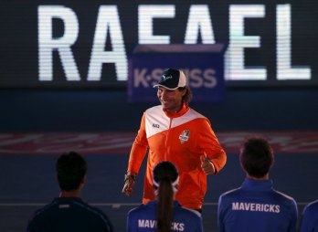 Indian Aces' Rafael Nadal of Spain walks onto the court before playing his match in the International Premier Tennis League (IPTL) in New Delhi, India, December 10, 2015. REUTERS/Anindito Mukherjee