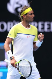 Rafael Nadal during his first round match against Fernando Verdasco at the 2016 Australian Open at Melbourne Park on January 19, 2016 in Melbourne, Australia. (Ryan Pierse/Getty Images)