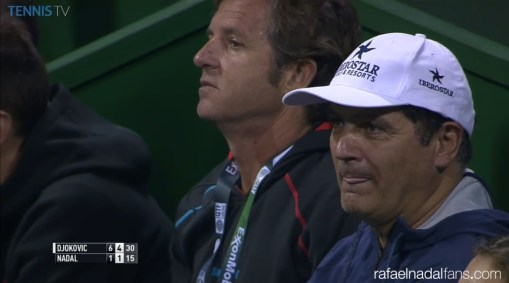 Rafael Nadal both coaches Uncle Toni and Francisco Roig in Doha final Qatar Open 2016