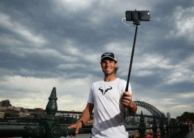 SYDNEY, AUSTRALIA - JANUARY 11: Rafael Nadal poses for a 'Selfie' during the FAST4Tennis media opportunity at Circular Quay on January 11, 2016 in Sydney, Australia. (Photo by Brendon Thorne/Getty Images)