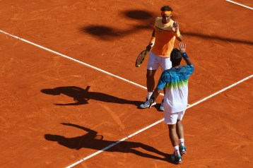 Rafael Nadal and Fernando Verdasco of Spain celebrate their straight sets victory in the doubles against Philipp Kohlschreiber of Germany and Viktor Troicki of Serbia during day two of the Monte Carlo Rolex Masters at Monte-Carlo Sporting Club on April 11, 2016 in Monte-Carlo, Monaco. (April 10, 2016 - Source: Michael Steele/Getty Images Europe)