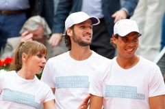 MADRID, SPAIN - APRIL 29: (L-R) Mariam Hernandez, Feliciano Lopez and Rafa Nadal attend Charity day tournament during Mutua Madrid Open at Caja magica on April 29, 2016 in Madrid, Spain. (Photo by Juan Naharro Gimenez/Getty Images)