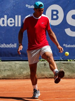 Rafa Nadal plays football with a tennis ball during the training in the Open Banc Sabadell, 64 Trophy Conde de Godo, played on the RCT Barcelona1899, on april 19, 2016. (Photo by Urbanandsport/NurPhoto via Getty Images)