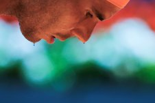Tennis - Madrid Open - Rafael Nadal of Spain v Andrey Kuznetsov of Russia - Madrid, Spain - 3/5/16 Drops of sweat fall from Nadal's face. REUTERS/Sergio Perez