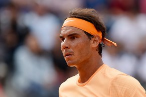ROME, ITALY - MAY 12: Rafael Nadal of Spain looks on in his match against Nick Kyrgios of Australia on Day Five of The Internazionali BNL d'Italia on May 12, 2016 in Rome, Italy. (Photo by Dennis Grombkowski/Getty Images)