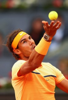 Rafael Nadal of Spain in action against Sam Querrey of USA during day six of the Mutua Madrid Open tennis tournament at the Caja Magica on May 05, 2016 in Madrid, Spain. (May 4, 2016 - Source: Julian Finney/Getty Images Europe)
