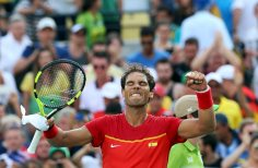 2016 Rio Olympics - Tennis - Preliminary - Men's Singles Second Round - Olympic Tennis Centre - Rio de Janeiro, Brazil - 09/08/2016. Rafael Nadal (ESP) of Spain celebrates after winning his match against Andreas Seppi (ITA) of Italy. REUTERS/Kevin Lamarque FOR EDITORIAL USE ONLY. NOT FOR SALE FOR MARKETING OR ADVERTISING CAMPAIGNS.