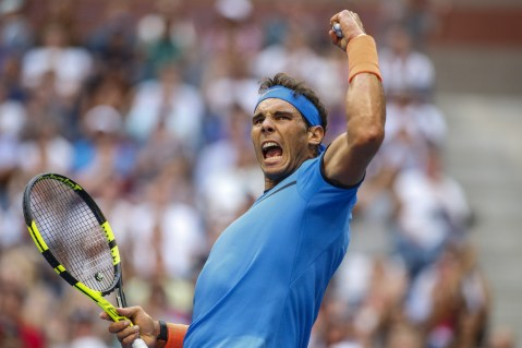 Rafael Nadal of Spain reacts as he plays against Lucas Pouille of France during their US Open Men's Singles match at the USTA Billie Jean King National Tennis Center in New York on September 4, 2016. / AFP / KENA BETANCUR (Sept. 3, 2016 - Source: AFP)