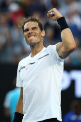 Rafael Nadal of Spain celebrates winning his third round match against Alexander Zverev of Germany on day six of the 2017 Australian Open at Melbourne Park on January 21, 2017 in Melbourne, Australia. (Jan. 20, 2017 - Source: Cameron Spencer/Getty Images AsiaPac)