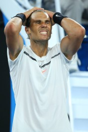 Rafael Nadal of Spain celebrates winning match point in his semifinal match against Grigor Dimitrov of Bulgaria on day 12 of the 2017 Australian Open at Melbourne Park on January 27, 2017 in Melbourne, Australia. (Jan. 26, 2017 - Source: Michael Dodge/Getty Images AsiaPac)