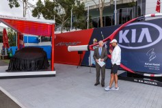 Rafael Nadal of Spain (R) talks to MC Ian Cohen (L) during a Kia Key handover ceremony at Garden Square in Melbourne Park January 15, 2017 in Melbourne, Australia. (Jan. 14, 2017 - Source: Daniel Pockett/Getty Images AsiaPac)