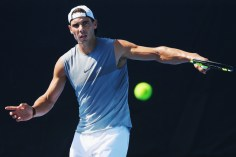 Rafael Nadal during a practice session ahead of the 2017 Australian Open at Melbourne Park on January 10, 2017 in Melbourne, Australia. (Michael Dodge/Getty Images)
