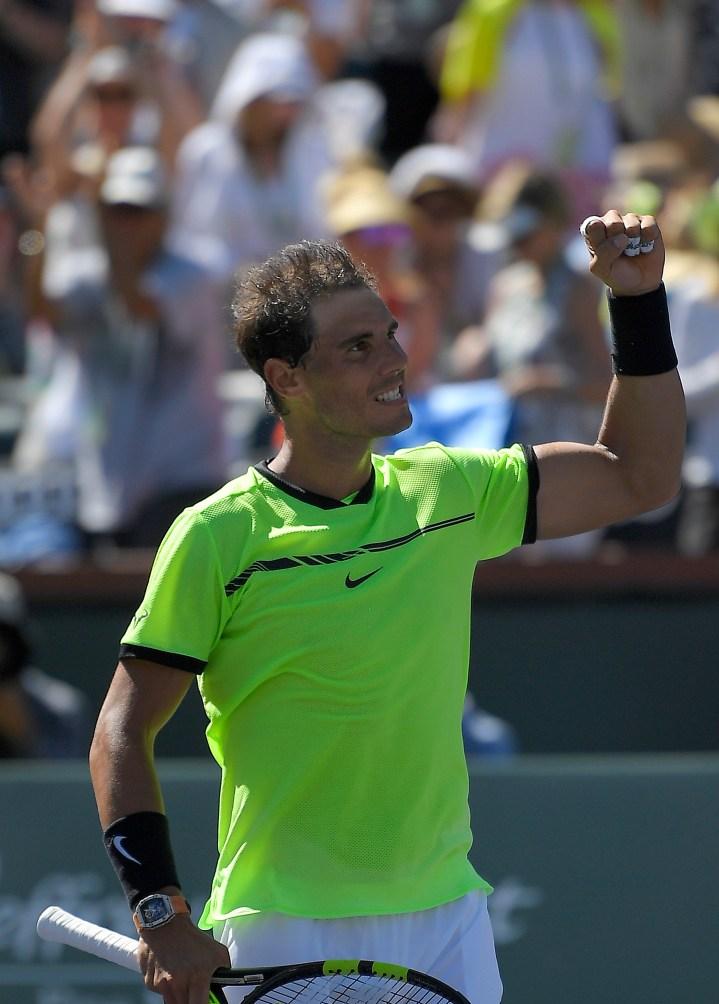 Rafael Nadal, of Spain, celebrates after beating Fernando Verdasco, of Spain, at the BNP Paribas Open tennis tournament, Tuesday, March 14, 2017, in Indian Wells, Calif. Nadal won 6-3, 7-5. (AP Photo/Mark J. Terrill)