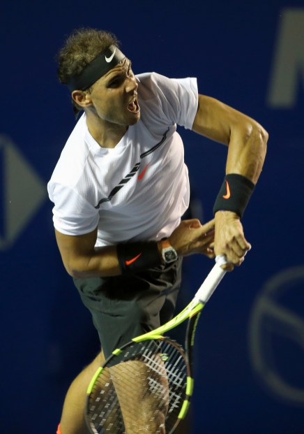 Spain's Rafael Nadal serves to Croatia's Marini Cilic during a semifinal match of the Mexican Tennis Open in Acapulco, Mexico, Friday, March 3, 2017. (AP Photo/Enric Marti)