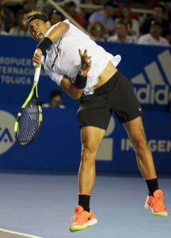 Spain's Rafael Nadal serves to Croatia's Marini Cilic during a semifinal match of the Mexican Tennis Open in Acapulco, Mexico, Friday March 3, 2017. (AP Photo/Enric Marti)