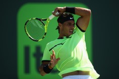 Rafael Nadal of Spain plays a forehand in his match against Nicolas Mahut of France at Crandon Park Tennis Center on March 28, 2017 in Key Biscayne, Florida. (March 27, 2017 - Source: Julian Finney/Getty Images North America)