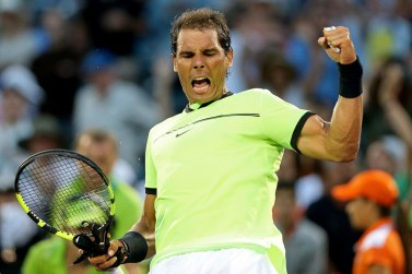 Rafael Nadal of Spain celebrates defeating Philipp Kohlschreiber of Germany at Crandon Park Tennis Center on March 26, 2017 in Key Biscayne, Florida. (March 25, 2017 - Source: Julian Finney/Getty Images North America)