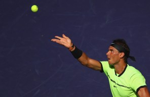 Rafael Nadal of Spain serves against Guido Pella of Argentina in their second round match during day seven of the BNP Paribas Open at Indian Wells Tennis Garden on March 12, 2017 in Indian Wells, California. (March 11, 2017 - Source: Clive Brunskill/Getty Images North America)