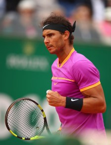 Rafael Nadal of Spain celebrates a point against Albert Ramos-Vinolas of Spain in the final on day eight of the Monte Carlo Rolex Masters at Monte-Carlo Sporting Club on April 23, 2017 in Monte-Carlo, Monaco. (April 22, 2017 - Source: Clive Brunskill/Getty Images Europe)