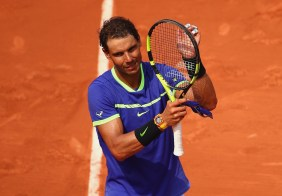 Rafael Nadal of Spain celebrates victory over Benoit Paire of France in the mens singles first round match on day two of the 2017 French Open at Roland Garros on May 29, 2017 in Paris, France. (May 28, 2017 - Source: Clive Brunskill/Getty Images Europe)