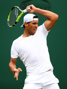 LONDON, ENGLAND - JULY 01: Rafael Nadal of Spain in action during a practice session ahead of the Wimbledon Lawn Tennis Championships at the All England Lawn Tennis and Croquet Club on July 1, 2017 in London, England. (Photo by Clive Brunskill/Getty Images)