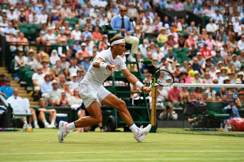 Rafael Nadal (ESP) v Karen Khachanov (RUS) on Centre Court in the third round of the Gentlemen's Singles. The Championships 2017 at The All England Lawn Tennis Club, Wimbledon. Day 5 Friday 07/07/2017. Credit: AELTC/Joel Marklund