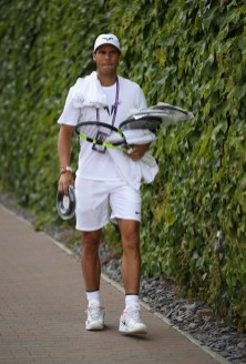 Rafael Nadal of Spain arrives for a training session at Wimbledon on July 9, 2017 in London, England. (July 8, 2017 - Source: Julian Finney/Getty Images Europe)