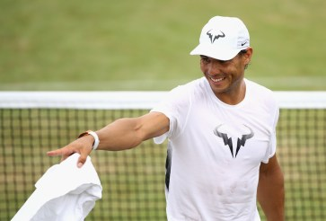 Rafael Nadal of Spain in a training session at Wimbledon on July 9, 2017 in London, England. (July 8, 2017 - Source: Julian Finney/Getty Images Europe)