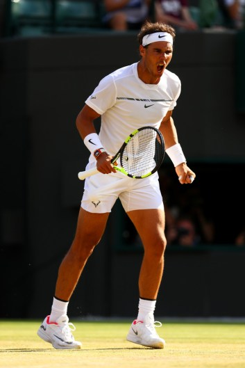 Rafael Nadal of Spain celebrates during the Gentlemen's Singles fourth round match against Gilles Muller of Luxembourg on day seven of the Wimbledon Lawn Tennis Championships at the All England Lawn Tennis and Croquet Club on July 10, 2017 in London, England. (July 9, 2017 - Source: Michael Steele/Getty Images Europe)