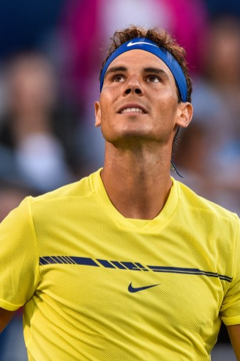 Rafael Nadal of Spain looks towards the fans after defeating Borna Coric of Croatia during day six of the Rogers Cup presented by National Bank at Uniprix Stadium on August 9, 2017 in Montreal, Quebec, Canada. (Aug. 8, 2017 - Source: Minas Panagiotakis/Getty Images North America)