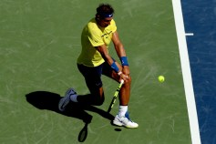 Rafael Nadal of Spain returns a shot to Albert Ramos-Vinolas of Spain during day 7 of the Western & Southern Open at the Lindner Family Tennis Center on August 18, 2017 in Mason, Ohio. (Aug. 17, 2017 - Source: Matthew Stockman/Getty Images North America)