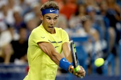 Rafael Nadal of Spain returns a shot to Richard Gasquet of France during day 5 of the Western & Southern Open at the Lindner Family Tennis Center on August 16, 2017 in Mason, Ohio. (Aug. 15, 2017 - Source: Matthew Stockman/Getty Images North America)