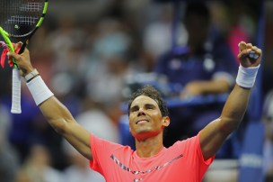 Rafael Nadal of Spain celebrates defeating Dusan Lajovic of Serbia & Montenegro during their first round Men's Singles match on Day Two of the 2017 US Open at the USTA Billie Jean King National Tennis Center on August 29, 2017 in the Flushing neighborhood of the Queens borough of New York City. (Aug. 28, 2017 - Source: Richard Heathcote/Getty Images North America)