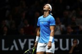 Rafael Nadal of Team Europe reacts during his singles match against Jack Sock of Team World on Day 2 of the Laver Cup on September 23, 2017 in Prague, Czech Republic. The Laver Cup consists of six European players competing against their counterparts from the rest of the World. Europe will be captained by Bjorn Borg and John McEnroe will captain the Rest of the World team. The event runs from 22-24 September. (Sept. 22, 2017 - Source: Clive Brunskill/Getty Images Europe)