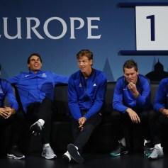 Rafael Nadal, Tomas Berdych, Thomas Enqvist and Fernando Verdasco of Team Europe looks on as Dominic Thiem of Team Europe plays his singles match against John Isner of Team World on the first day of the Laver Cup on September 22, 2017 in Prague, Czech Republic. The Laver Cup consists of six European players competing against their counterparts from the rest of the World. Europe will be captained by Bjorn Borg and John McEnroe will captain the Rest of the World team. The event runs from 22-24 September. (Sept. 21, 2017 - Source: Clive Brunskill/Getty Images Europe)