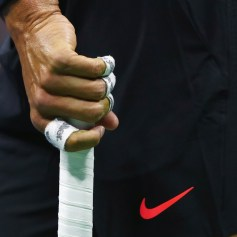 A detailed view of the wrapped fingers of Rafael Nadal of Spain as he serves against Juan Martin del Potro of Argentina during their Men's Singles Semifinal match on Day Twelve of the 2017 US Open at the USTA Billie Jean King National Tennis Center on September 8, 2017 in the Flushing neighborhood of the Queens borough of New York City. (Sept. 7, 2017 - Source: Clive Brunskill/Getty Images North America)