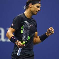Rafael Nadal of Spain celebrates a point in the first set against Juan Martin del Potro of Argentina during their Men's Singles Semifinal match on Day Twelve of the 2017 US Open at the USTA Billie Jean King National Tennis Center on September 8, 2017 in the Flushing neighborhood of the Queens borough of New York City. (Sept. 7, 2017 - Source: Al Bello/Getty Images North America)