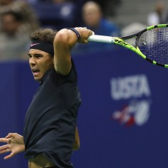Rafael Nadal of Spain returns a shot against Juan Martin del Potro of Argentina during their Men's Singles Semifinal match on Day Twelve of the 2017 US Open at the USTA Billie Jean King National Tennis Center on September 8, 2017 in the Flushing neighborhood of the Queens borough of New York City. (Sept. 7, 2017 - Source: Elsa/Getty Images North America)