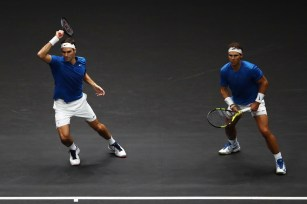 Roger Federer and Rafael Nadal of Team Europe in action during there doubles match against Jack Sock and Sam Querrey of Team World on Day 2 of the Laver Cup on September 23, 2017 in Prague, Czech Republic. The Laver Cup consists of six European players competing against their counterparts from the rest of the World. Europe will be captained by Bjorn Borg and John McEnroe will captain the Rest of the World team. The event runs from 22-24 September. (Sept. 22, 2017 - Source: Clive Brunskill/Getty Images Europe)