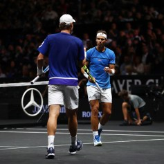 Rafael Nadal and Tomas Berdych of Team Europe celebrate winning a point during there doubles match against Nick Kyrgios ans Jack Sock of Team World on the first day of the Laver Cup on September 22, 2017 in Prague, Czech Republic. The Laver Cup consists of six European players competing against their counterparts from the rest of the World. Europe will be captained by Bjorn Borg and John McEnroe will captain the Rest of the World team. The event runs from 22-24 September. (Sept. 21, 2017 - Source: Clive Brunskill/Getty Images Europe)