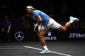 Rafael Nadal of Team Europe serves during his singles match against Jack Sock of Team World on Day 2 of the Laver Cup on September 23, 2017 in Prague, Czech Republic. The Laver Cup consists of six European players competing against their counterparts from the rest of the World. Europe will be captained by Bjorn Borg and John McEnroe will captain the Rest of the World team. The event runs from 22-24 September. (Sept. 22, 2017 - Source: Clive Brunskill/Getty Images Europe)