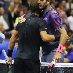 (L-R) Rafael Nadal of Spain hugs Juan Martin del Potro of Argentina after their Men's Singles Semifinal match on Day Twelve of the 2017 US Open at the USTA Billie Jean King National Tennis Center on September 8, 2017 in the Flushing neighborhood of the Queens borough of New York City. Rafael Nadal defeated Juan Martin del Potro in the fourth set with a score of 4-6, 6-0, 6-3, 6-2. (Sept. 7, 2017 - Source: Al Bello/Getty Images North America)